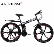 Altruism A9 Mountain Bicycles 26 Inch Steel Black Bike 24-speed Bike Folding Double Disc Brake Bicicleta Bikes Complet(China)