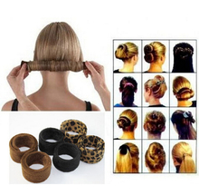 Fashion Hair Bun Donut Black Leopard Tail Hairagami Hairbands Jewelry Accessories Women Styling Tools