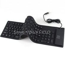 109 Keys USB Silicone Rubber Waterproof Flexible Foldable Keyboard For PC Black Drop Shipping(China)