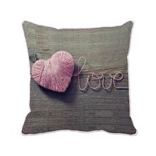 pink woolen yarn heart shape with love printed customized brown cushion cover wedding home and sofa decoration throw pillow case