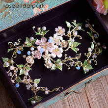 rosebridalpark pearl wedding headband flower gold bridal headpiece leaf head piece girl party accessories jewelry for bride T791(China)