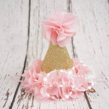 Hot sale Lovely Glitter Gold Birthday Party Mini Hats,Shining Gold Party Hat Baby Shower Party Decoration,Kids Birthday Gifts(China)