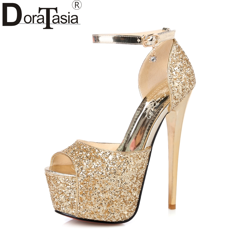 DoraTasia  2018 Top Quality Peep Toe Platform Ankle Strap Wedding Shoes Women Thin High Heeled Bling Upper Party Sandals Shoes<br>