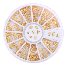 12 Grids Nail Art Studs Geometric Sparkle Metal Beads Set Golden Gel Polish Tips 3D DIY Shiny Glitter Fashion Jewelry Decoration