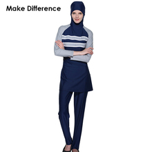 Make Difference Gray Stripes Muslim Swimsuit Islamic Swim Wear 2 Pieces Connected Hijab Muslim Swimwear Burkinis for Women Girls