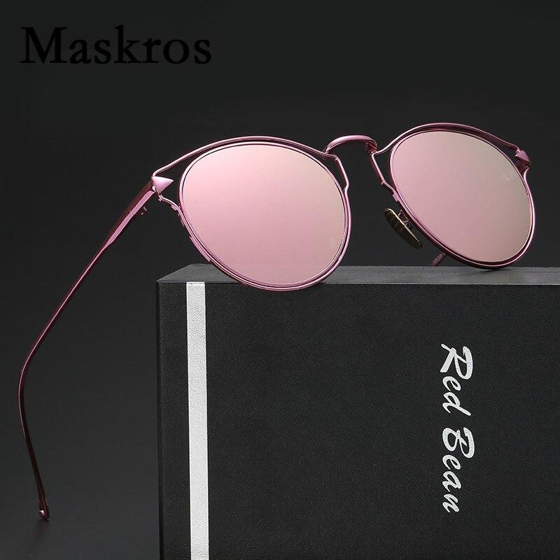 Maskros Reflective Round Polarized Sunglasses Women Brand Designer Ladies Sun Glasses for Woman Mirror Shades Female UV400 Pink<br><br>Aliexpress