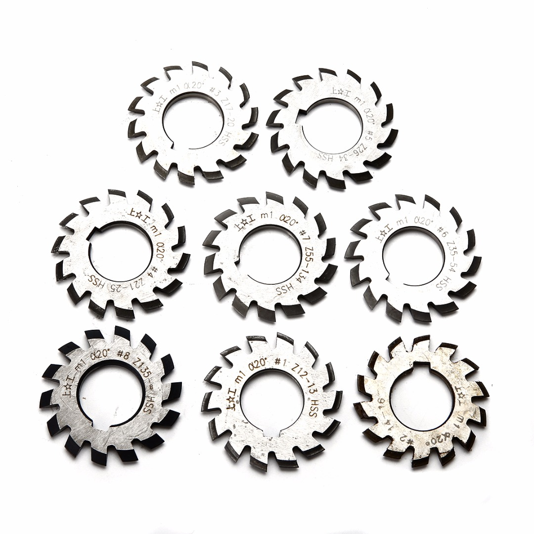 8pcs HSS Involute Gear Cutters Set Diameter 22mm M1 Module PA 20 Degree #1-8 Assortment Kit For Power Tools