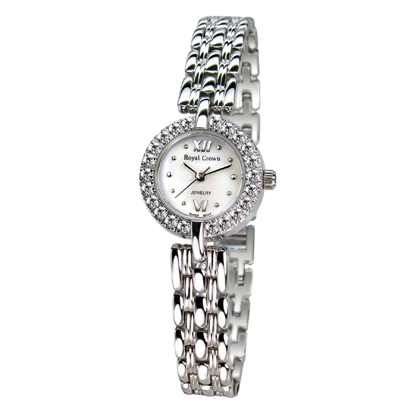 Small Lady Womens Watch Fine Fashion Hours Mother-of-pearl Stainless Steel Bracelet Rhinestone Girls Gift Royal Crown Box<br>