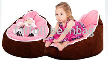 COVER ONLY, NO FILLINGS - Micro soft suede dark coffee with pink seat harness bean bag chair