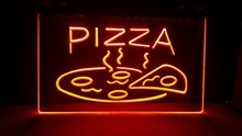 OPEN Hot Pizza Cafe Restaurant NEW carving signs Bar LED Neon Sign  vintage home decor