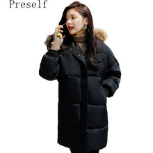 Preself 2017 Women New Autumn Winter Fur Collar In the long Section Of The Coat Thickening Loose To Lncrease The Code Down Jacke