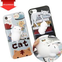 ALANGDUO Squishy Phone Case for iPhone 7 7 plus 3D Cute Soft Silicone Pappy Squishy Cat for i6 6s plus Kitty Cover Housing Coque