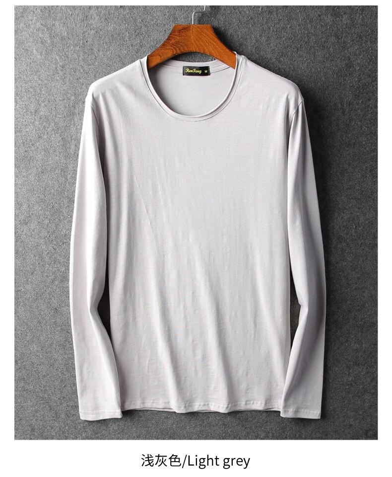Bamboo cotton men's long sleeve t-shirt msn All Match O Neck Casual T-Shirts Base Tees spring autumn Korean bottoming shirt men (7)