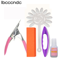 5 pcs/set Professional Nail Art Tool Kit Edge Cutter Clipper False Nail Tips Polishing Block Brush Nail Glue Sticker(China)