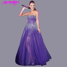 Best Seller A Line Strapless Crystals Beaded Purple Prom Dress Short inside Long Outside Tulle High Low Party Gown