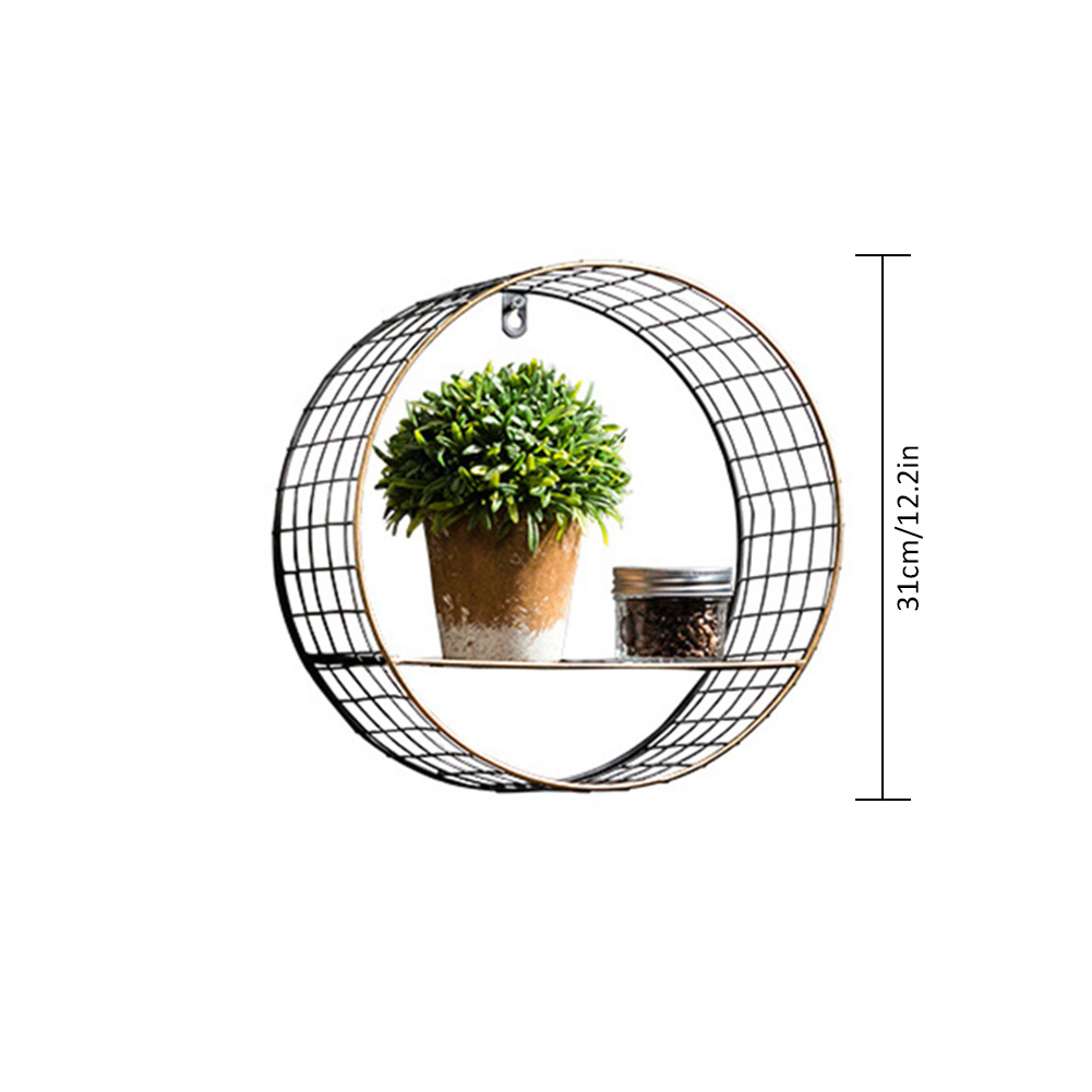 3 Sizes Retro Wall-Mounted Metal Rack Circular Mesh Iron Shelf Industrial Style Round Shelf Office Sundries Organizer Home Decor 3