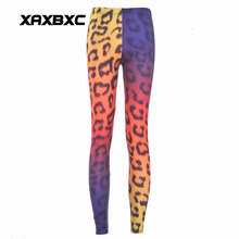 XAXBXC 3257 Sexy Girl Pencil Pants Rainbow leopard pattern cheetah Printed Elastic Slim Fitness Workout Women Leggings Plus Size(China)