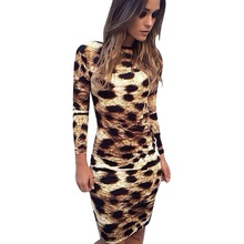 Ladies Sexy Women Backless Leopard Printed Clothes Long Sleeve Dress Bodycon Mini Dress Vestidos Fashion Sundresses(China)