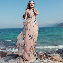 Vintage Mexican Dress Women Spring Summer Embroidered Mesh Long Dress Boho People 2017 High Quality Designer Runway Dress Y1167(China)
