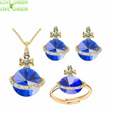 2017 wholesales new design UFO Saturn Kate queen white gold color Pendant necklace earrings rings jewelry sets 80201