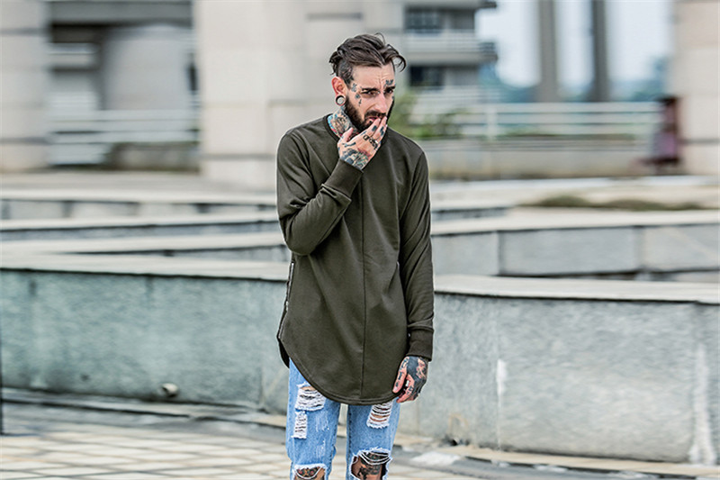Cross Printed Hip Hop Sweatshirt Men 17Spring Streetwear Curved Hem Side Zipper Plain Mens Sweatshirts and Hoodies Man Clothes 16