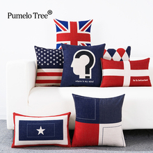 England America Flag Cushion Cover Cotton Linen Decorative Pillowcase Chair Seat British style Pillows Case Blue Red Geometric(China)