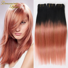 7ATop Rose gold Ombre Human Hair Extensions Brazilian Straight Hair Tone 1b/Pink Ombre Brazilian Hair 300g Rose Gold Hair Weave