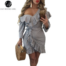 Lily Rosie Girl Blue Striped Cold Shoulder Dress Sexy Deep V Long Sleeve Ruffles Mini Womens Dress 2017 Autumn Winter Vestidos