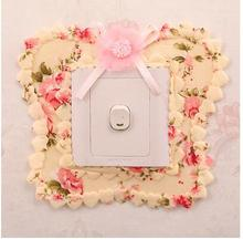 lovely pastoral switch fabric decoration sets outlet creative switch stickers Korea dust switch cover