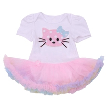 Hello Kitty Bebe Newborn Girls Clothes 2016 Summer Toddler Lace Petti Rompers Party Dresses Infant Jumpsuit Baby Girl Clothing