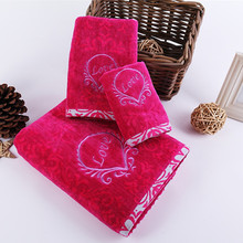 "100% Cotton Cute Embroidered ""Love"" Pattern Rose Red 3pcs Bath  Towel Set   Wedding Gift Box Package Towel Set   Festival Gift"