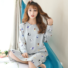 New Autumn Cotton Nightgown Women Sweet Girl Cute Nightdress Sleepwear Long Sleeve Casual Nightwear Loose Sleepshirts Shirt(China)