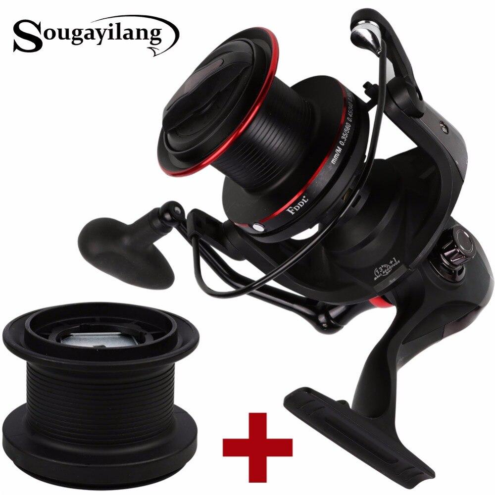 Sougayilang Super Big Spinning Reel with Spare Spool Full Metal Wheel 13+1BB 10000 Series Spin Fishing Coil Wheel Vara De Pesca<br>