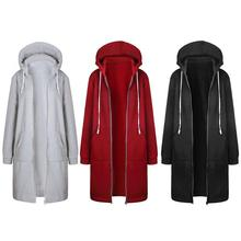 Winter Women Long Sleeve Hoodie Coat Casual Pockets Zipper Outerwear Hooded Jacket Fashion Solid Female Warm Zip-up Full Coats