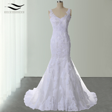 Charming Sweetheart Lace Mermaid Court Train Wedding Dresses Floor-Length Spaghetti Straps Vintage Lace  Bridal Dress (SL-W516)