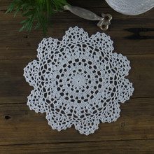 "White Crocheted Doilies round Napkins Coasters 8.8""/22cm Wedding desktop Ornament Home Decoration Physical picture 100%(China)"