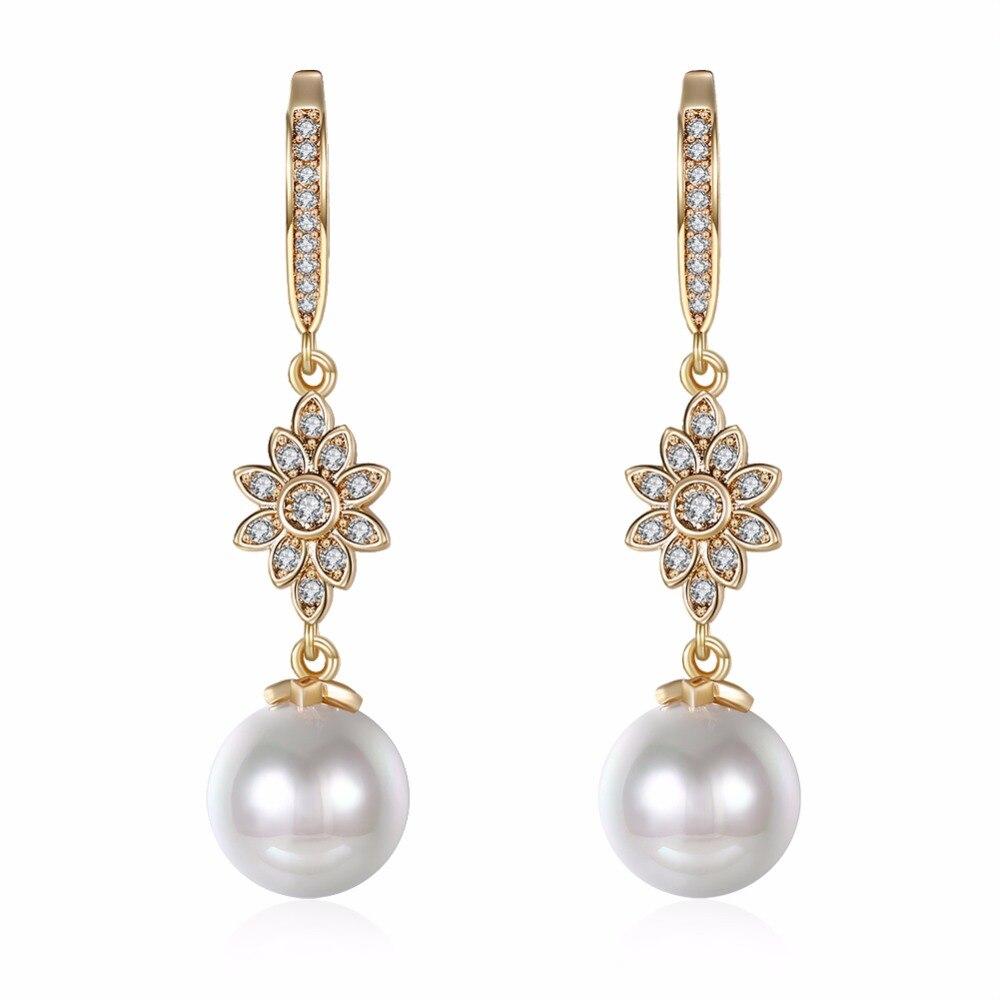Popular Simulatedpearl Long Hanging Drop Earrings For Women Champagne Gold  Color Copper Dangle Earrings Jewelry Female E7d01e
