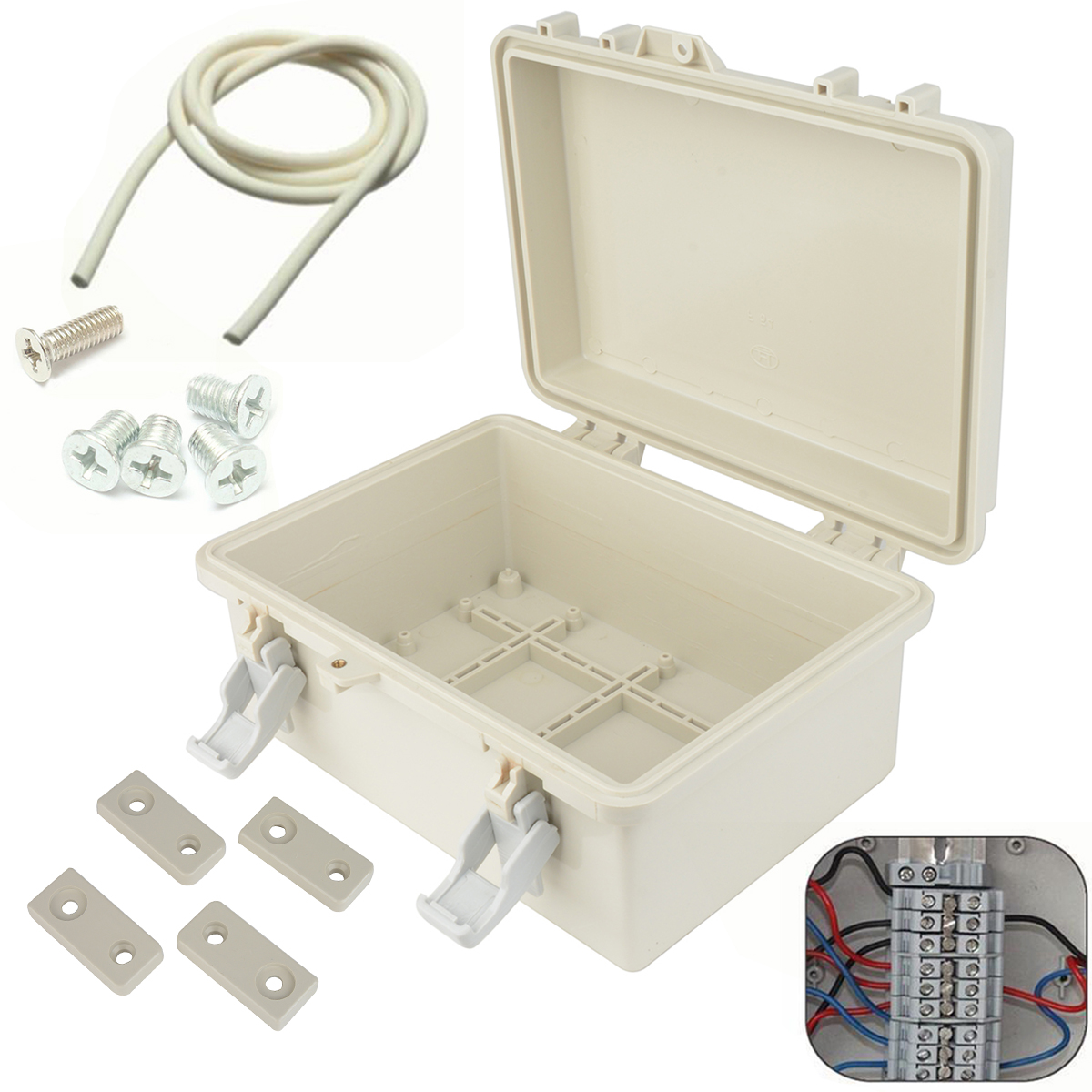 1pc Waterproof Electronic Junction Box Plastic Enclosure Instrument Case Outdoor Terminal Cable Electrical Connector Mayitr