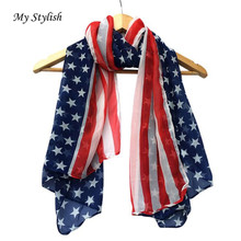 My Stylish   Women Fashion Soft Silk Chiffon American Flag Scarf Scarves 2016 Best Gifts 1PCS Top Quality Free ShippingOct 24