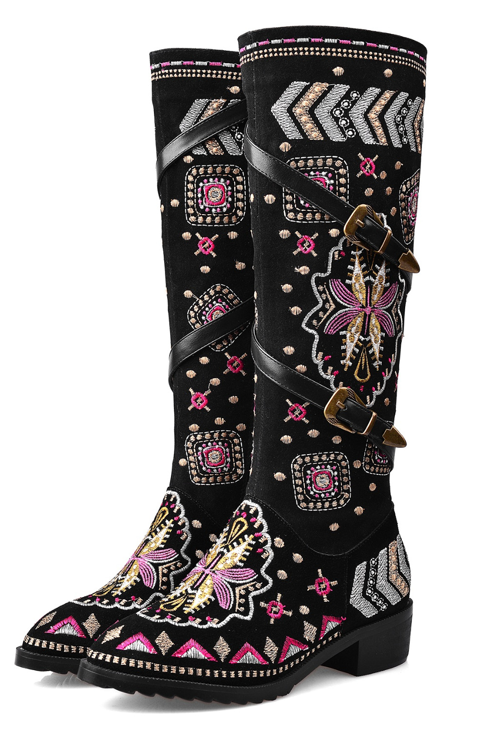Retro Fashion National Style Embroidery Side Zippers Thick Heels Knee High Boots Cowhide Suede Belt Buckle Women Pumps Shoe<br><br>Aliexpress