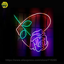 NEON SIGN For Personalized Rose Flower Signboard GLASS Tube BEER BAR PUB Club Decor Signage Store display Night Light Sign 24x24