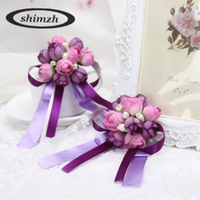 SHIMZH Artificial Flowers Romantic Weeding Decorative Wristband Bracelet Corsage with Pearls Bridesmaid Elegant Ribbon Bouquet