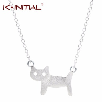 1Pcs 925 sterling Silver Cute Cats Necklaces & Pendants Cat Silver Necklaces Jewelry Women Fashion Collar Colar Drop Shipping
