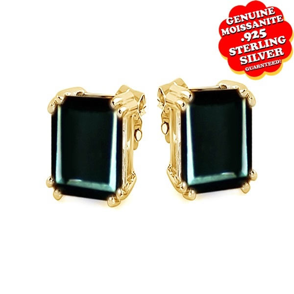 4.00 Ct Greenish Black Real Moissanite Diamond Stud Earrings In Sterling Silver