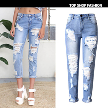 2016fashion Summer Style pencil pants Women Jeans ripped Holes Harem Pants Ankle-Length Pants Jeans Slim vintage jeans for women