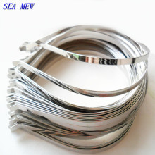 SEA MEW 20PCS Metal Steel White K Hairbands Width 4mm 6mm 7mm Head Bands Hairwear Base Setting For Jewelry Making(China)