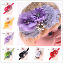 24pcs Newborn  Baptism Gift Flower Pearl flower headband Little Girl Spring Headwear Shabby Chic Headbands