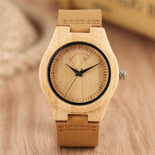 Hot Women Wrist Watch Cool Bamboo Quartz Watch Wolf Game of Thrones Simple Sport Analog Genuine Leather Band Nature Wood Clock(China)