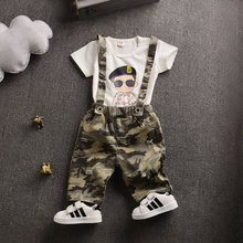 heat! Summer of 2016 suit newborn baby denim overalls + T shirt 2 sets of children's clothing boys 1-2 years old free shipping