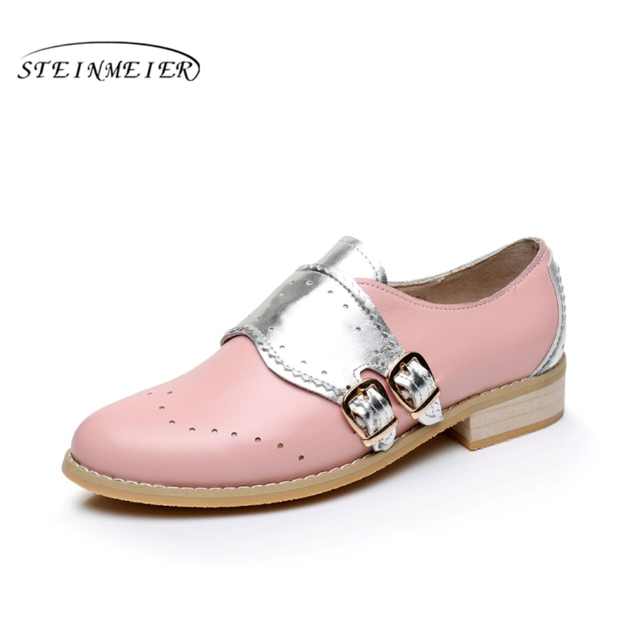 Cow leather big woman US size 10.5 designer vintage flats shoes round toe handmade silver pink oxford shoes for women with fur<br>